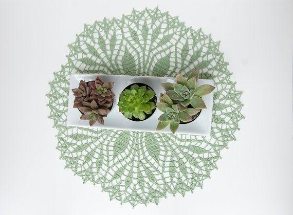 Crochet Doily tabletop decor lace centerpiece by TableTopJewels, $40.00