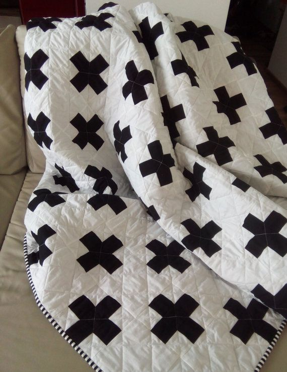 Plus Quilt / Swiss Crosses Quilt / Black & by Hearttoheartquilts