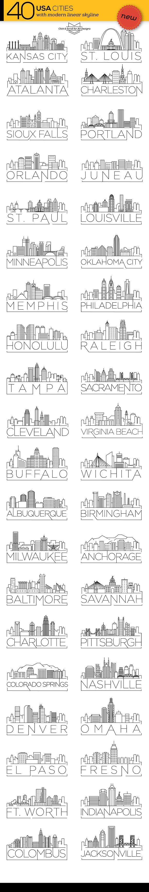 40 USA Cities Linear Skyline  @creativework247