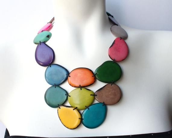 gift for her multicolour pepitas necklace Multicolour chunky necklace statement necklace