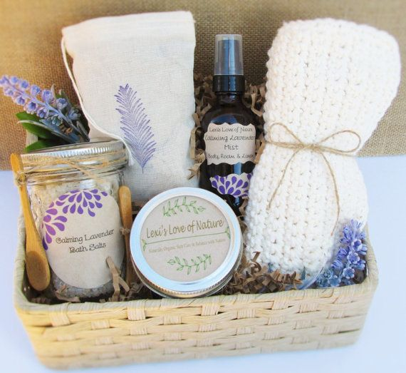 Gift Basket of Lovely Lavender! The gift of relaxation, step into an organic spa oasis at home. Delight your senses with the calming aroma of pure organic Lavender! Pamper someone special with the peaceful gifts of nature. Birthday, Coworker, Friend, anyone who needs relaxation!  My Products are Organic and handcrafted with intention & love by me. Healthy for Mind, Body & Environment! This means no preservatives, no dyes, no artificial fragrances or chemicals and never tested on anima...