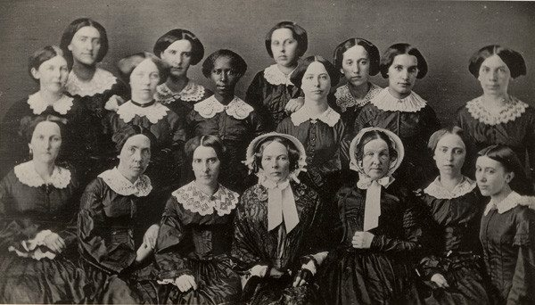 Oberlin posted this photo for International Women's Day: the women who graduated from Oberlin in 1855.