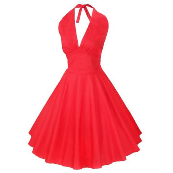 Chicnova Fashion Vintage Hepburn Style Halter Neck Swing Dress ($12) ❤ liked on Polyvore featuring dresses, red halter dress, tent dress, red halter top, vintage day dress and slimming dresses