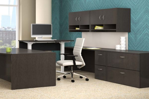 Office with adjustable height desk