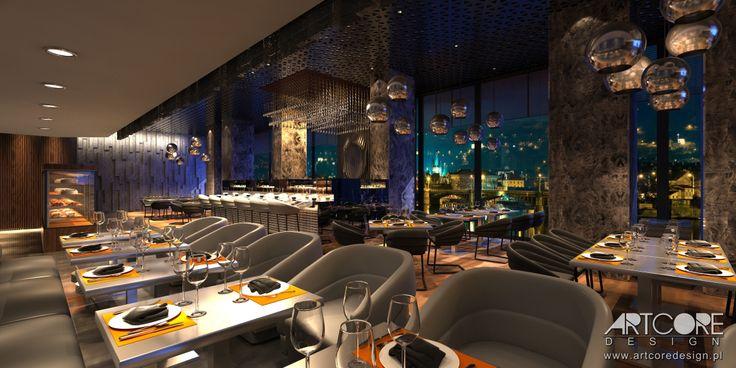 Projekt wnętrza nowoczesnej restauracji. Więcej na www.artcoredesign.pl .