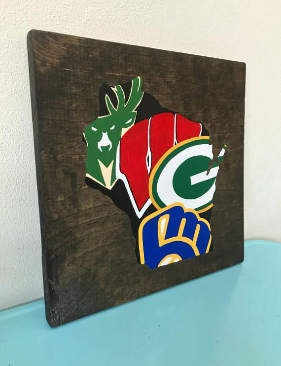 Wisconsin Sports Teams Wood Sign  Handmade  Hand Painted