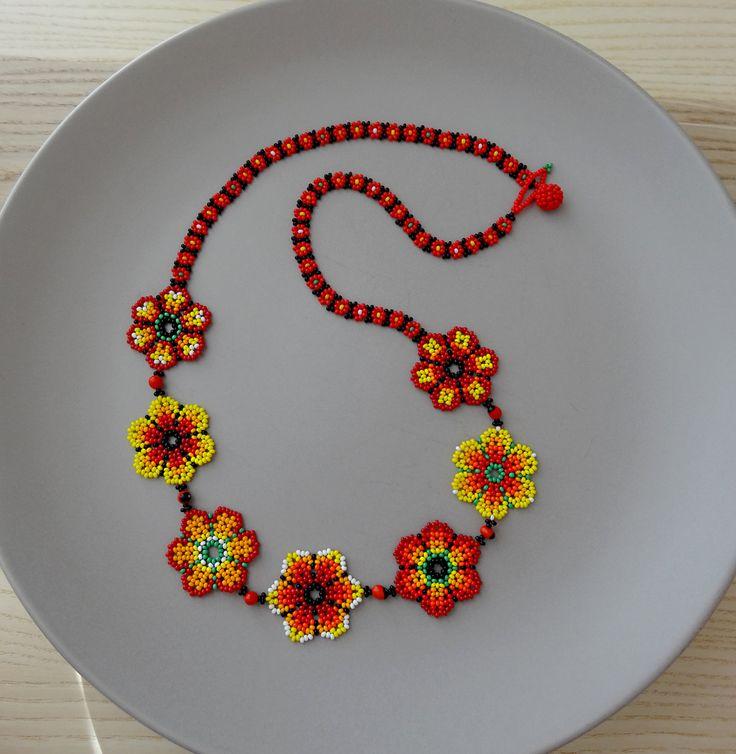 Collar Mexicano de Flores Largo Rojo Naranja y Amarillo