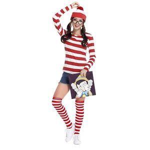Where s Wally Wenda Cartoon Costume Lady Fancy Dress Top Hat Sock cosplay outfit | eBay