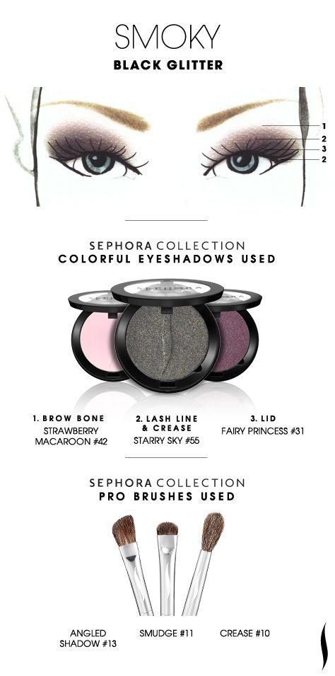 SMOKY: Black Glitter HOW TO. #sephoracollection #sephora #eyeshadow