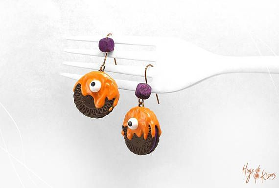 Halloween Monster Cookie Earrings Scary Cookie Earrings