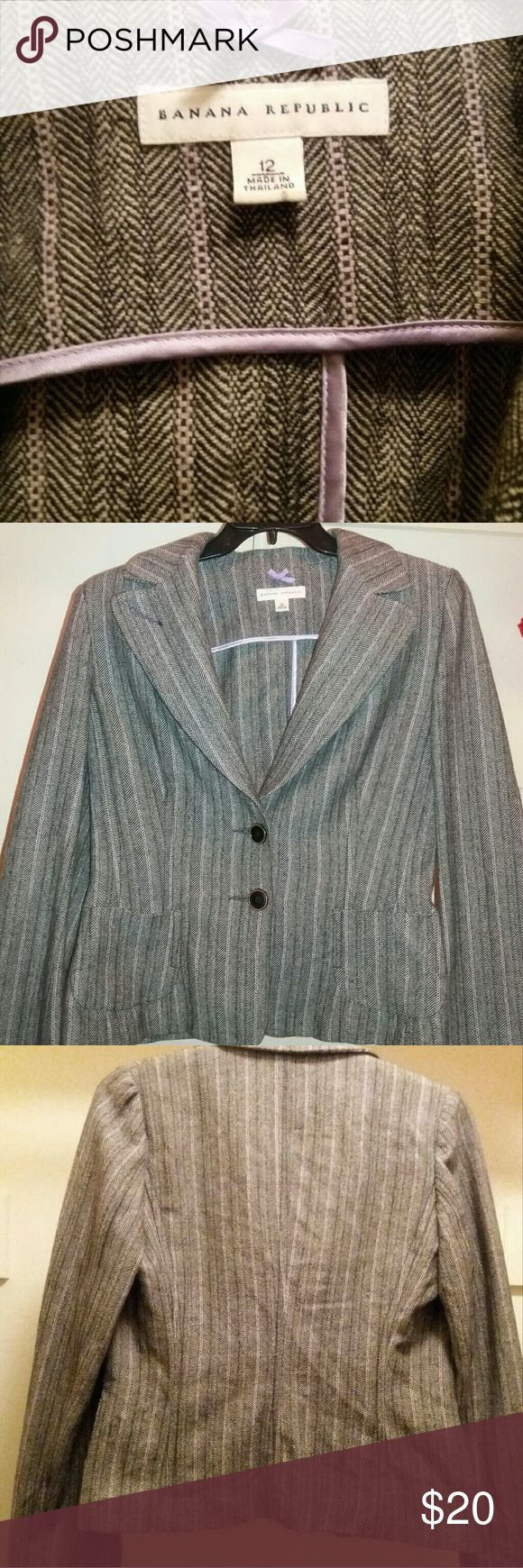 Banana Republic Wool Blazer Colors are black, white, and lavender.  In great preowned conditon. Banana Republic Jackets & Coats Blazers