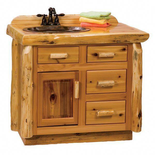 "Traditionelle Cedar Log 42 ""Badezimmer Vanity Base nur"