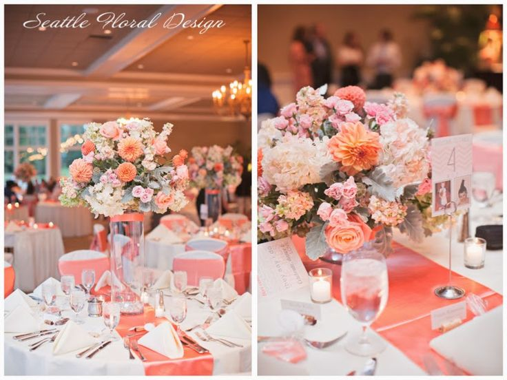 Seattle floral design wedding coral peach grey bouquet for Table design for wedding