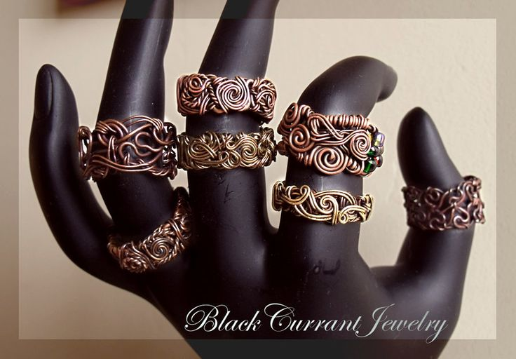 Antiqued Wire Rings by blackcurrantjewelry.deviantart.com on @deviantART