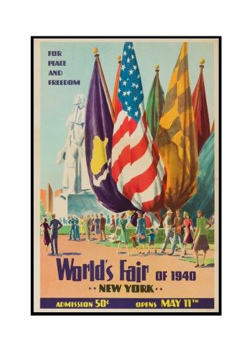 USA - World's Fair of 1940 - New York - (c. 1939) - Vintage Advertisement (12x18 Framed Gallery Wrapped Stretched Canvas), Multi