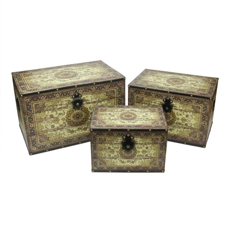 Set of 3 Oriental-Style Brown and Cream Earth Tone Decorative Wooden Storage Boxes 22 (Canvas)
