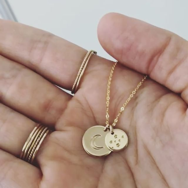 personalized fox necklace hand stamped disc initial necklace dainty delicate silver monogram necklace bridesmaid necklace