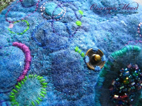 hand embroidered felted bag
