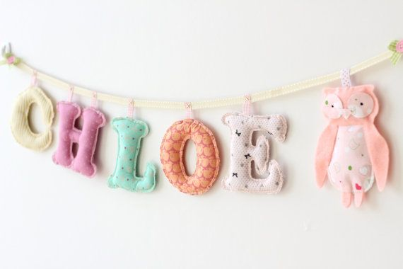 Custom made fabric name banner - 5 letters and felt Doll ornament pastel girls room name banner Unique, handmade name Decor with felt ornament,