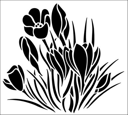 Crocuses stencil from The Stencil Library GARDEN ROOM range. Buy stencils online. Stencil code GR30.
