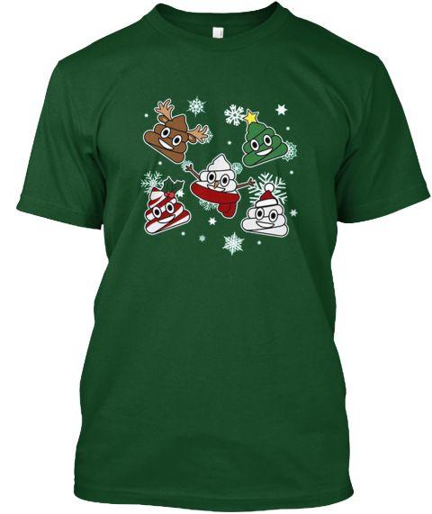 Christmas Poop Emoji Shirt Deep Forest T-Shirt Front
