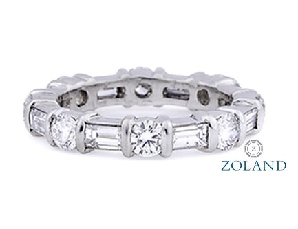 Baguette and round diamond eternity band #diamond #ring