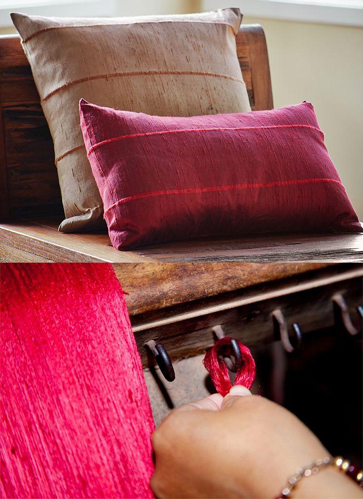 Artisan woven raw silk pillows. Hand made in Cambodia. Fair Pay. Shop Artisan Connect.