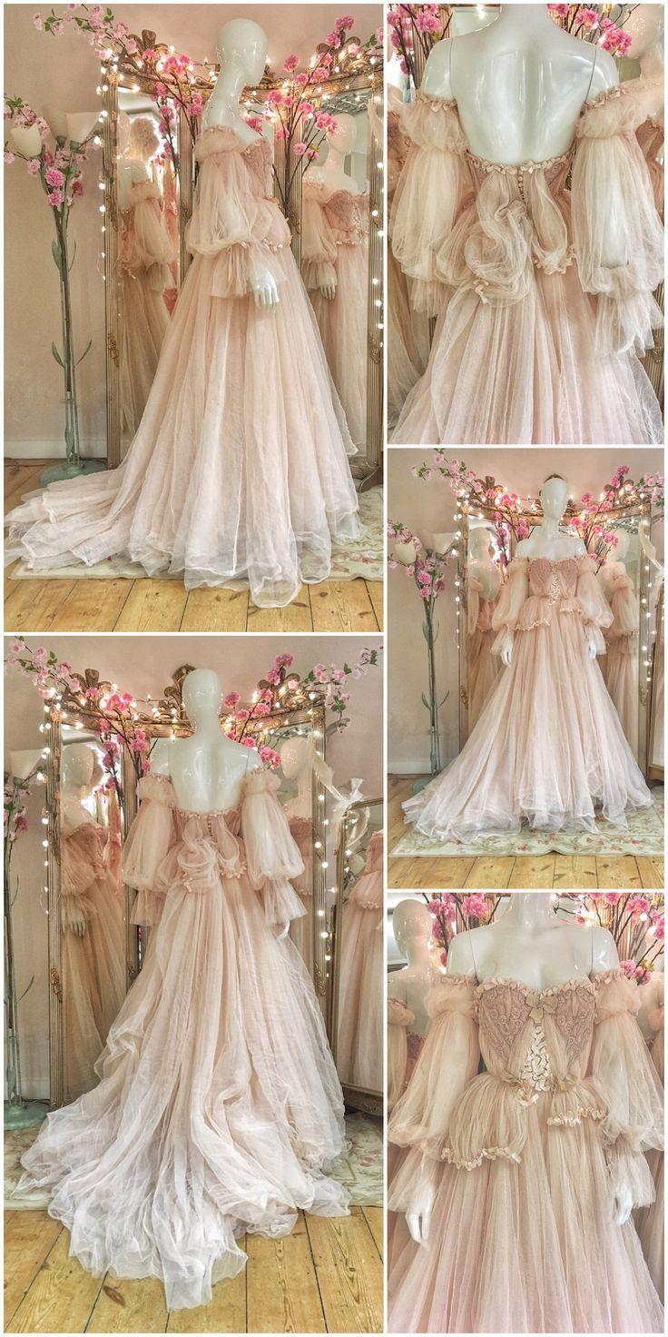Erröten Sie Tüll und Spitze Brautkleid mit abnehmbaren