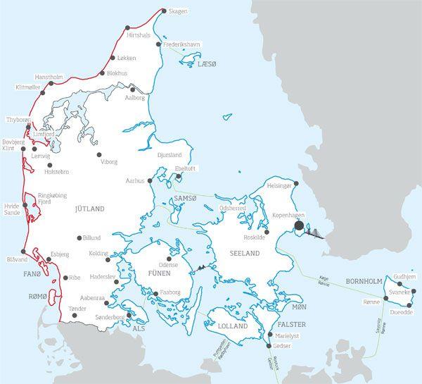 Dänische Nordsee und Ostsee-Karte