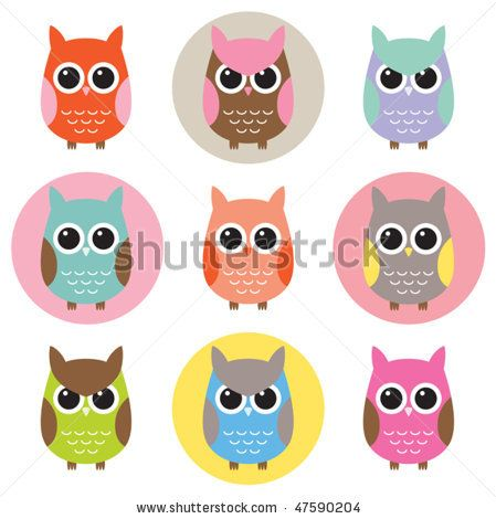 stock vector : Vector illustration of colorful owls with nine color combinations. Seamless patterns with black and white background are included in the swatch.