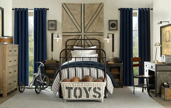 vintage boys room | vintage boy's bedroom with chic decorations and an overall cozy ...