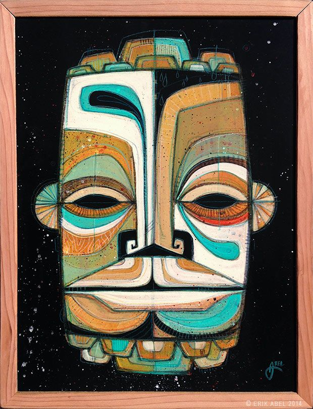 """Sea Tiki 05"" © Erik Abel 2014. 13.5"" x 17.5""  Acrylic, marker, colored pencil on wood. Frame: Reclaimed Redwood. #tribal #abstractart #erikabel"