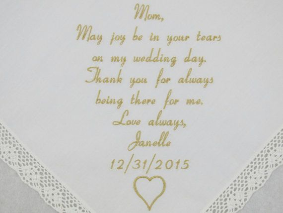 50 best Embroidered wedding handkerchief mother bride mother in law ...