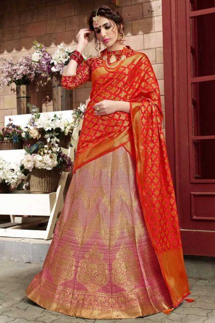 3f39b33e5c Alluring banaras #silk Designer #Lehenga Choli in #Pink Online - Thread  Sutra