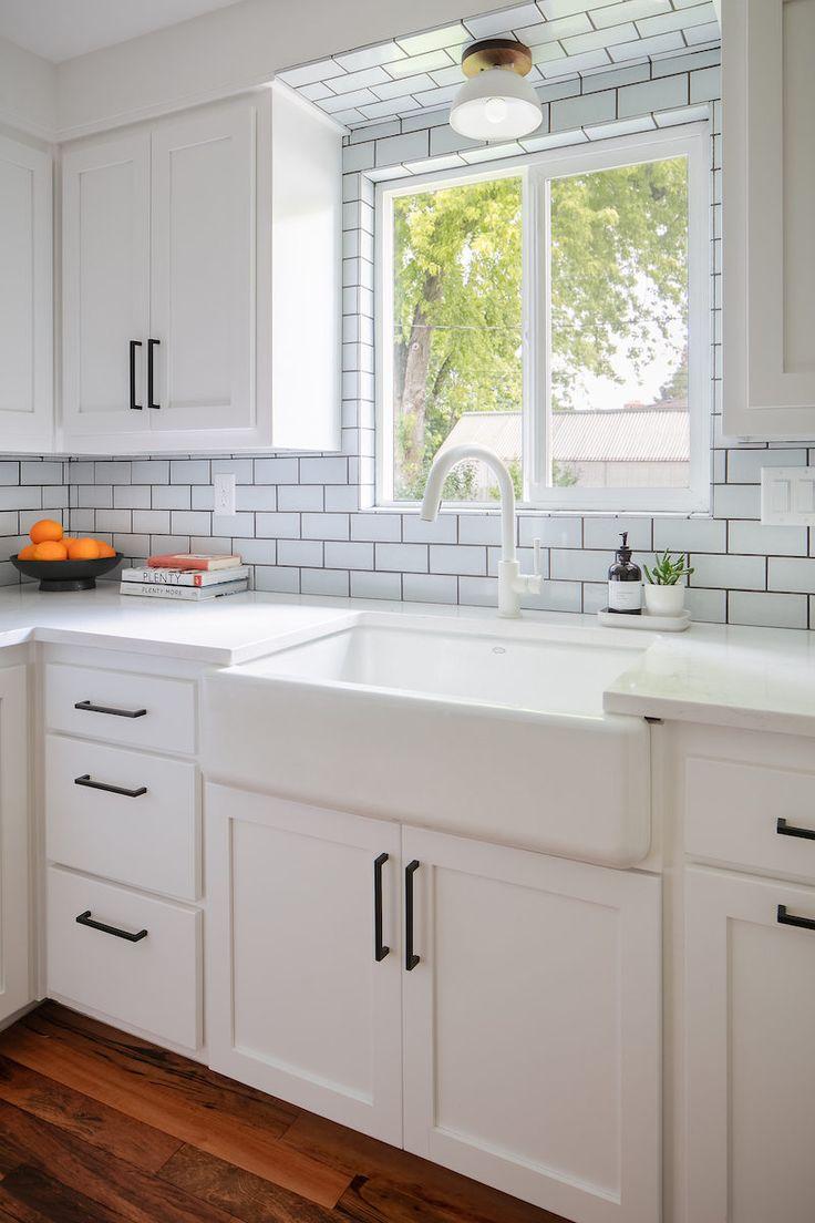 Moonshine Subway Tile Backsplash Kitchen Window Sill Home Decor Kitchen Kitchen Remodel White subway tile around kitchen window