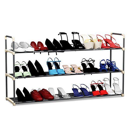 3-Tier Shoe Rack Organizer Storage Bench - Holds 18 Pairs - Organize Your  Closet