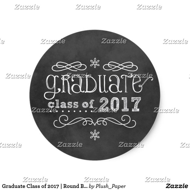 """Graduate Class of 2017   Round Black Chalkboard Classic Round Sticker Whimsical style graduation party round favor stickers feature a black chalkboard textured background look with handwritten white chalk text, scrolls, and doodles """"Graduate class of 2017"""" text."""