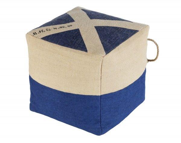 Sitzpuff blau weiß Würfelform