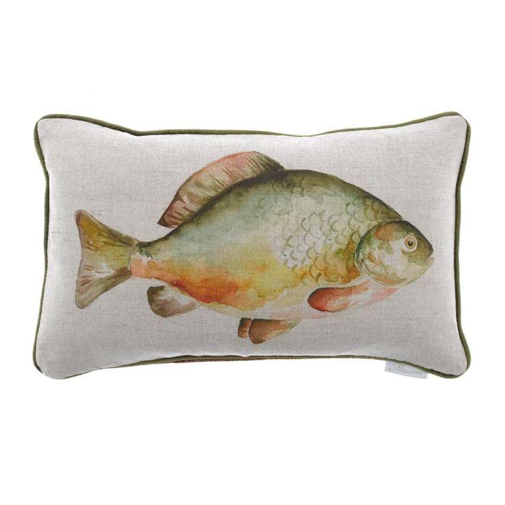Voyage Maison Mr Carp Cushion Available at www.thegreatbritishhome.com #madeinbritain #homedecor #cushion #thegreatbritishhome #carp #fishcushion #angling #mrcarp #watercolour #voyagemaison