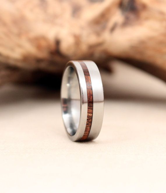Titanium and Koa Wood Ring Titanium Ring by WedgewoodRings on Etsy, $205.00