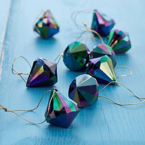 Tesco direct: Peacock Prism Christmas Tree Decorations