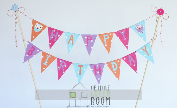 """Giggle And Hoot """"Hoot & Hootabelle"""" Happy Birthday cake banner"""