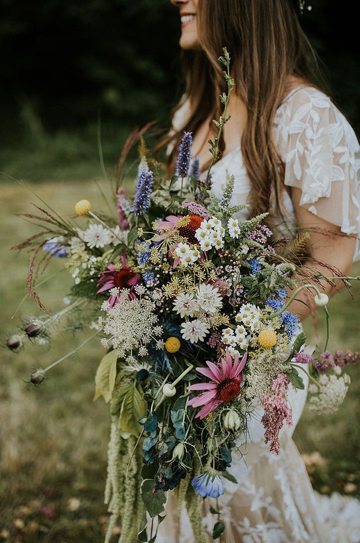 Must-See Washington Festival Wedding ~ Fire and Blooms herbal, wildflower bridal bouquet