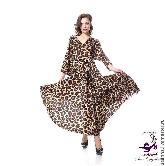 """Купить Роскошный пеньюар """"Пантера"""" сразу на 3 размера леопардовый - халат-кимоно, халат кимоно"""