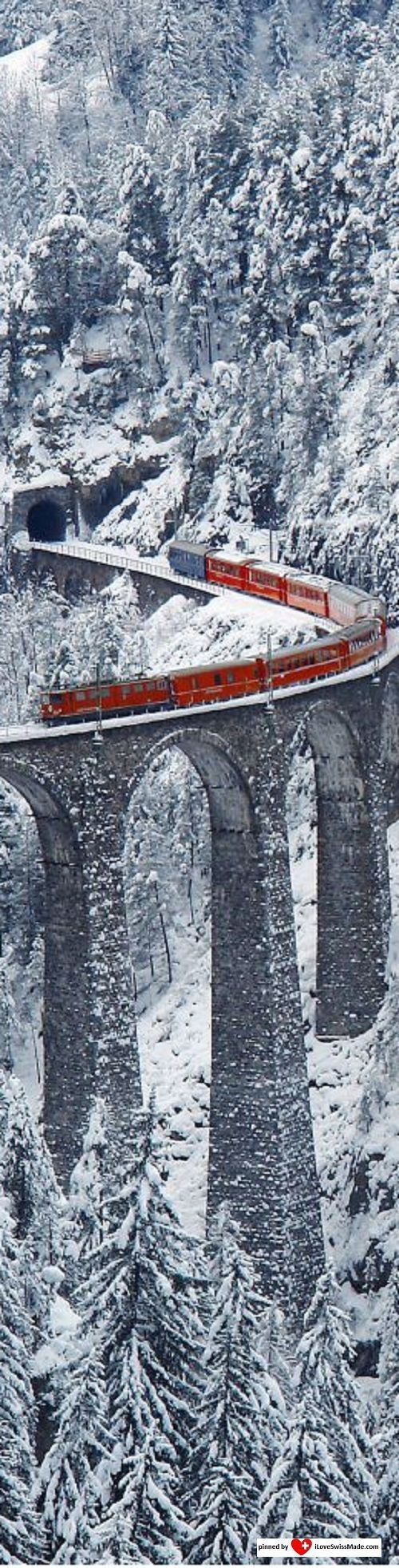 ✔️ Landwasser Viaduct Switzerland to Italy. The Bernina Express is a brightly colored scarlet train that crosses the Alps beginning in the town of Chur and ends in Tirano, just across the border in northern Italy. #PANDORATexas
