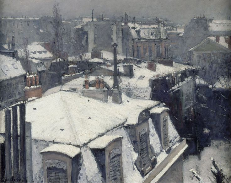 View of rooftops (Effect of snow) by Gustave Caillebotte