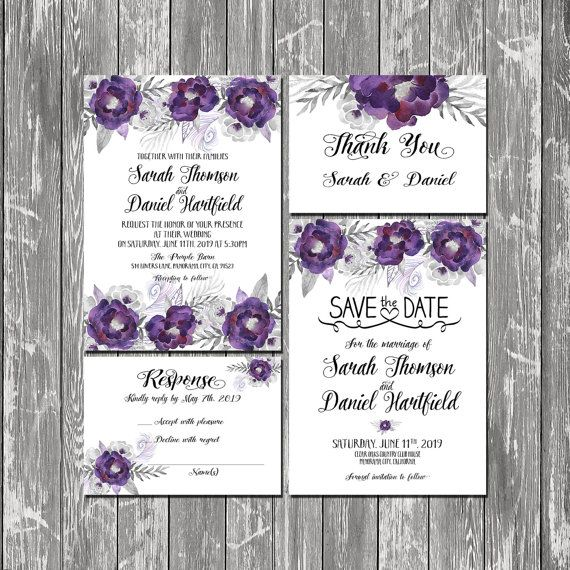 printable wedding invitation floral purple and silver wedding set suite save the date response thank you - Purple And Silver Wedding Invitations