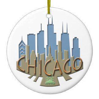 Chicago Christmas Ornament Graphic Skyline
