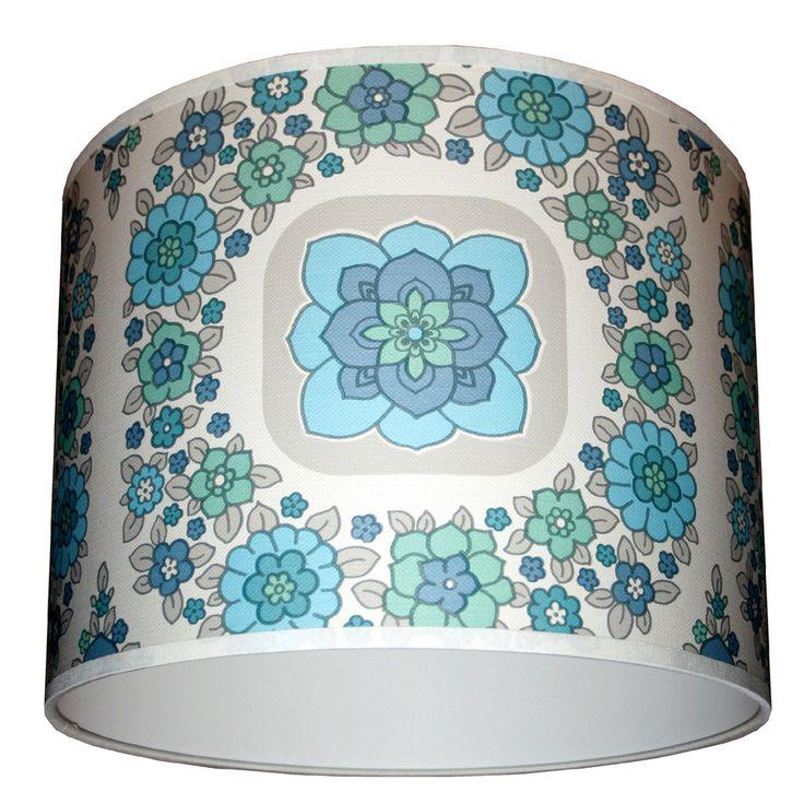 Geometric vintage wallpaper lampshade in blue