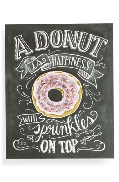 """Free shipping and returns on Lily & Val 'A Donut is Happiness' Chalkboard Print Wall Art at Nordstrom.com. A charming print based on original chalkboard art features a colorful rendering of a delectable donut and the saying, """"A donut is happiness with sprinkles on top."""""""